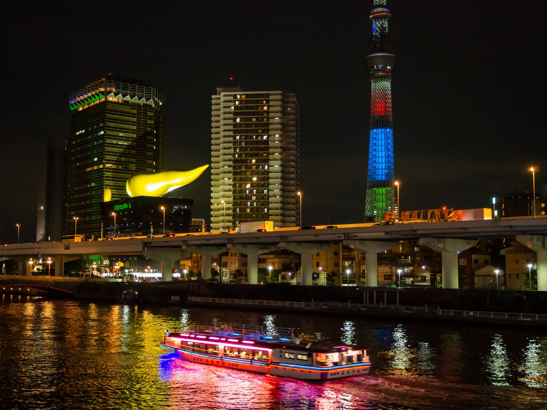 A cruise and Tokyo Skytree on Sumida River