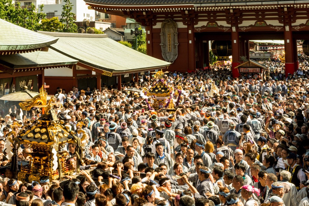 Crowd at Sensoji Temple during Sanja Festival