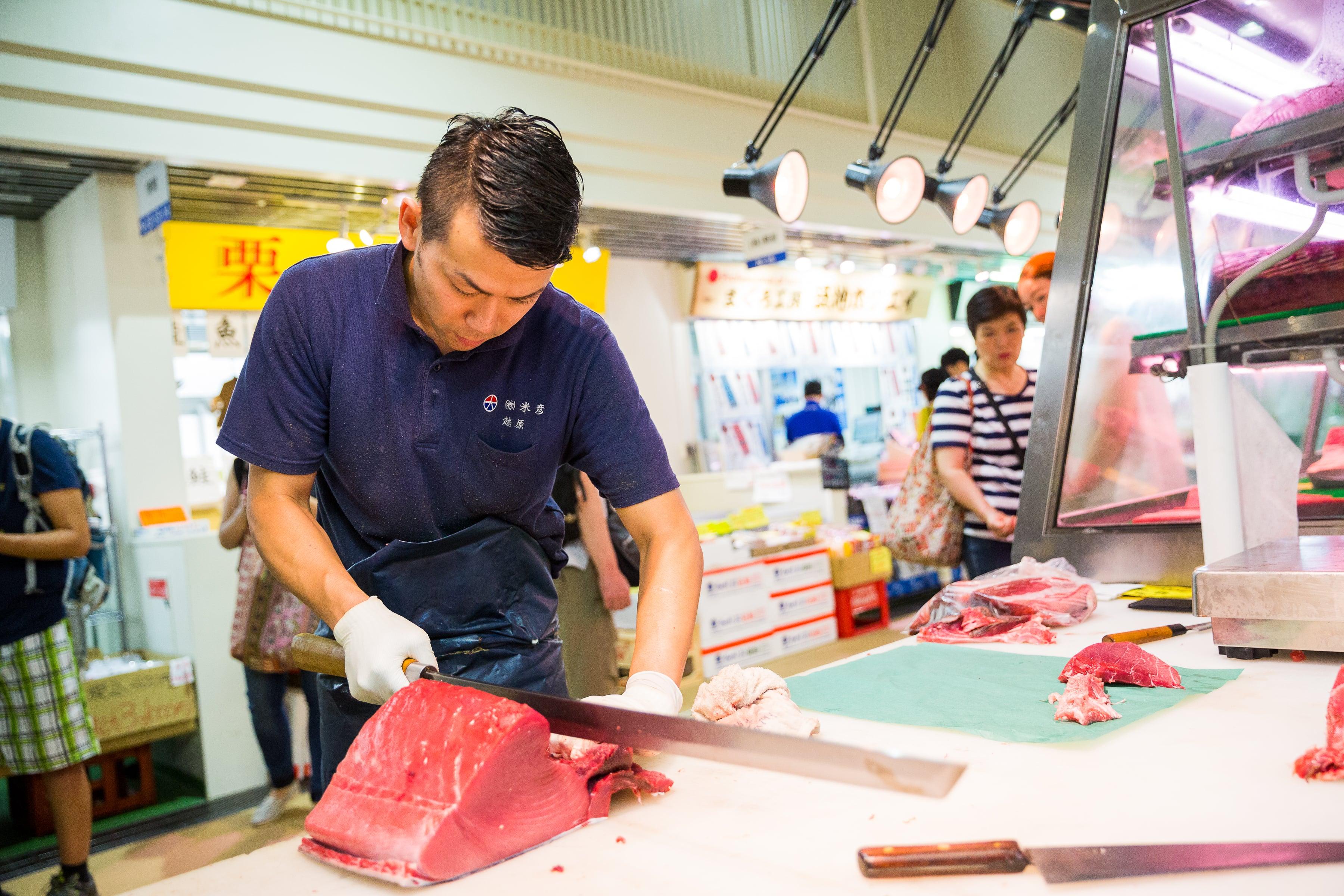Tuna Cutting at Tsukiji