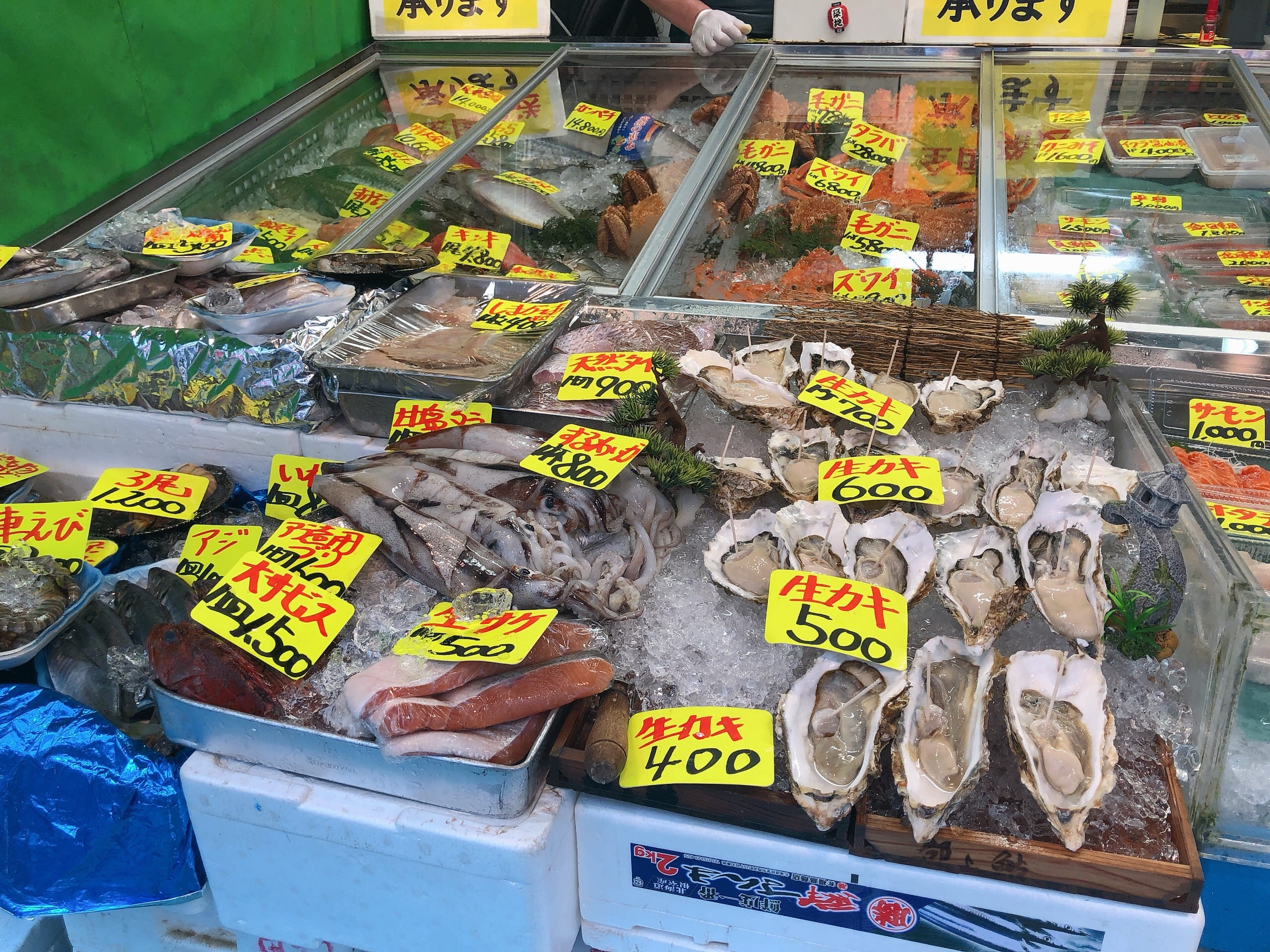 Seafood displayed along Tsukiji Outer Fish Market
