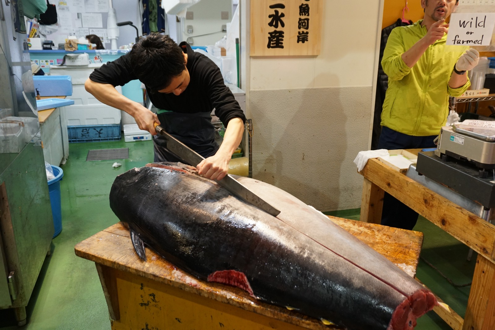 A man cutting tuna at Tsukiji