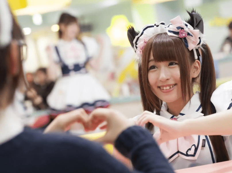 Maids serving at a maid cafe