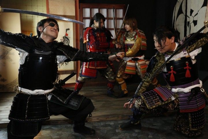 People disguising themselves as Samurai at Samurai Armor Studio
