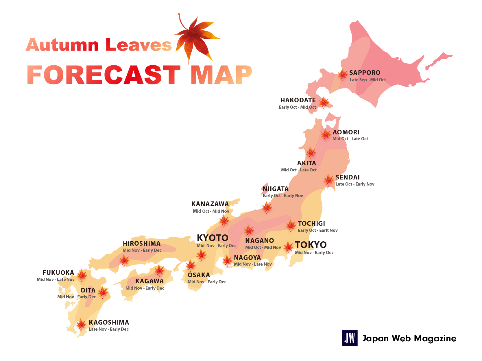 Fall Foliage Prediction Map 2020.Japan Autumn Leaves Forecast 2019 Japan Web Magazine