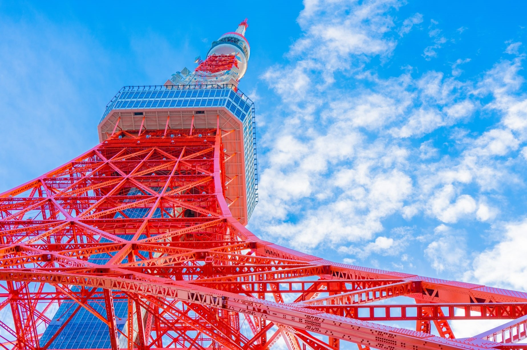 Tokyo Tower rising high up to the blue sky