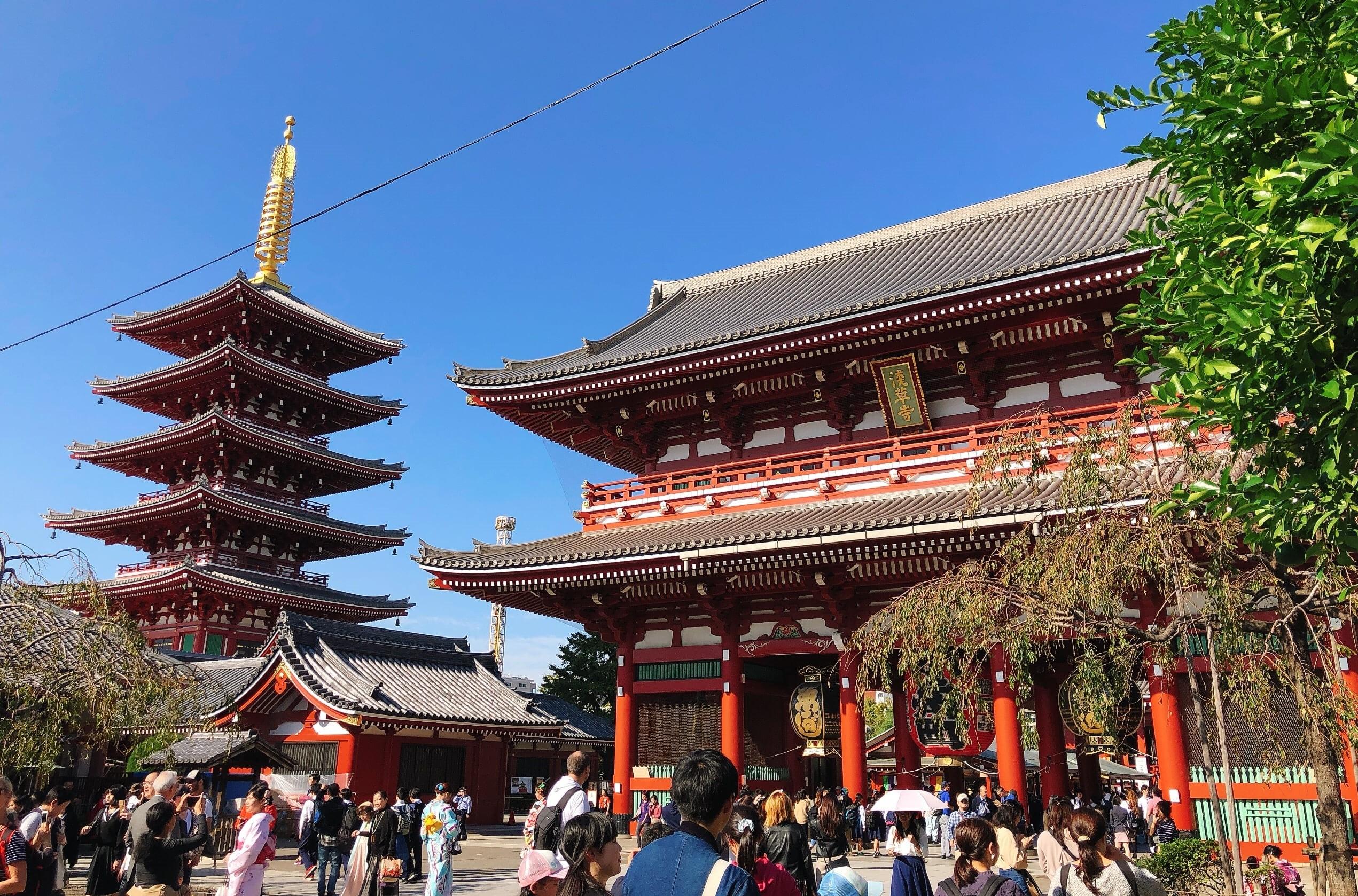 The gate and pagoda at Sensoji Temple