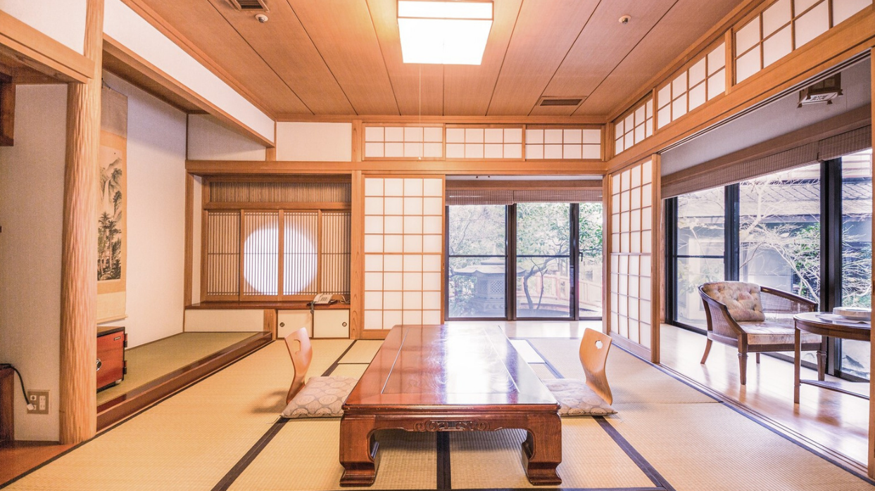Traditional Japanese style room at a ryokan