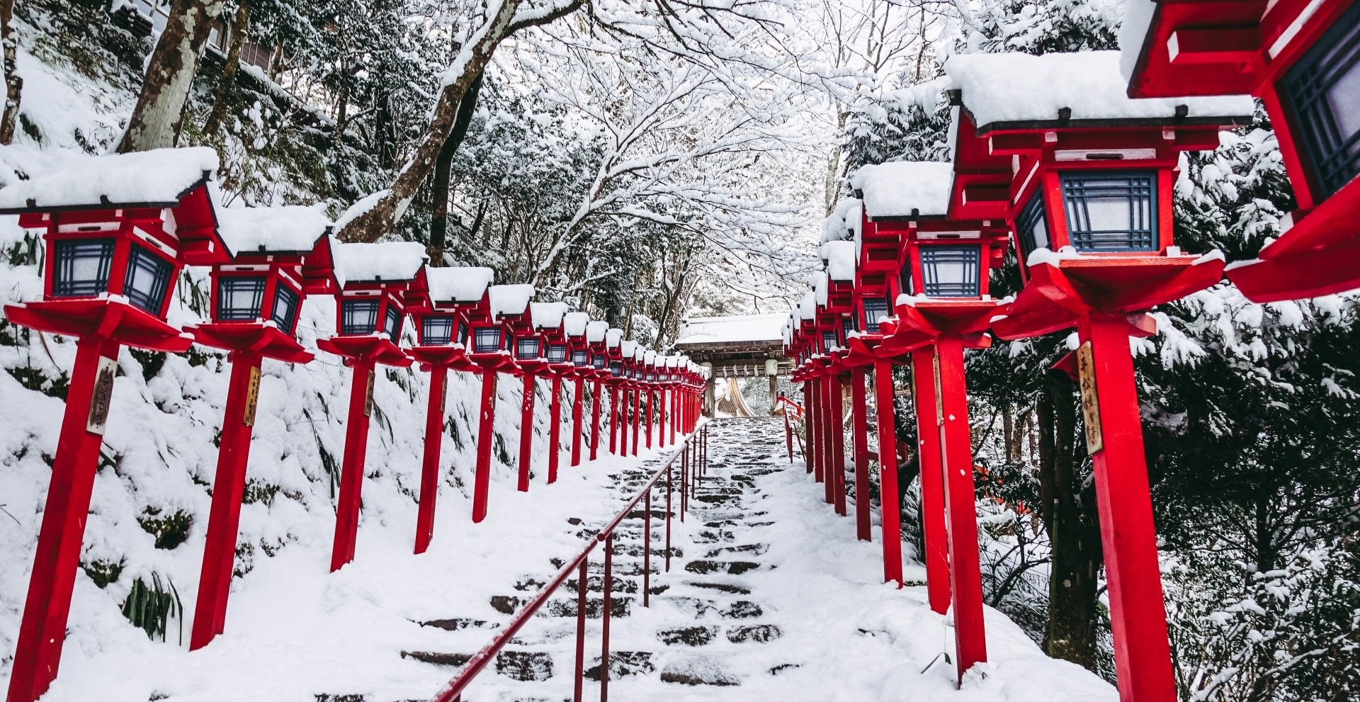 The approach of Kifune Shrine in winter
