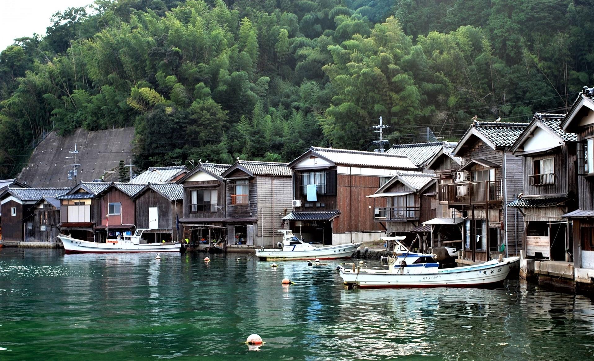 The houses of fishermen at Ine no Funaya Village