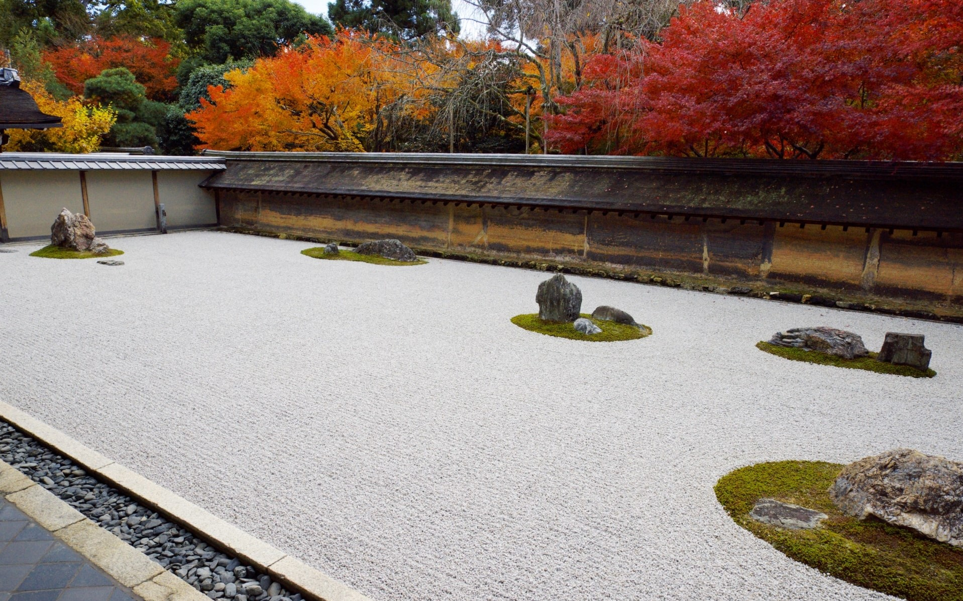A rock garden at Ryoanji Temple