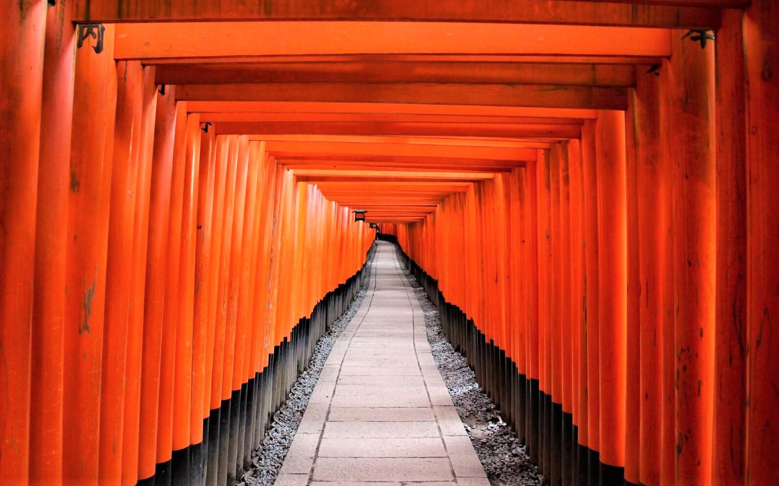 The picturesque vermilion torii gates at Fushimi Inari Taisha
