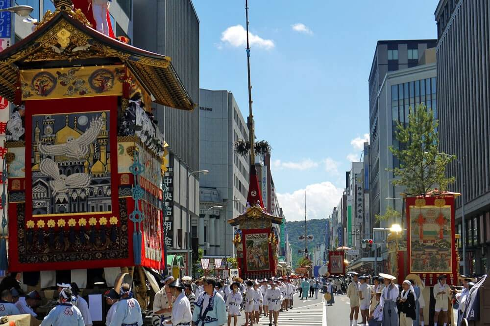 The colourful floats and carriers at Gion Matsuri
