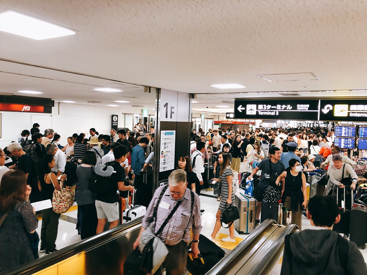 Narita Airport affected by Typhoon Foxai