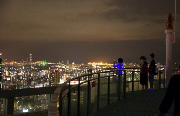 The observation deck of Umeda Sky Building at night