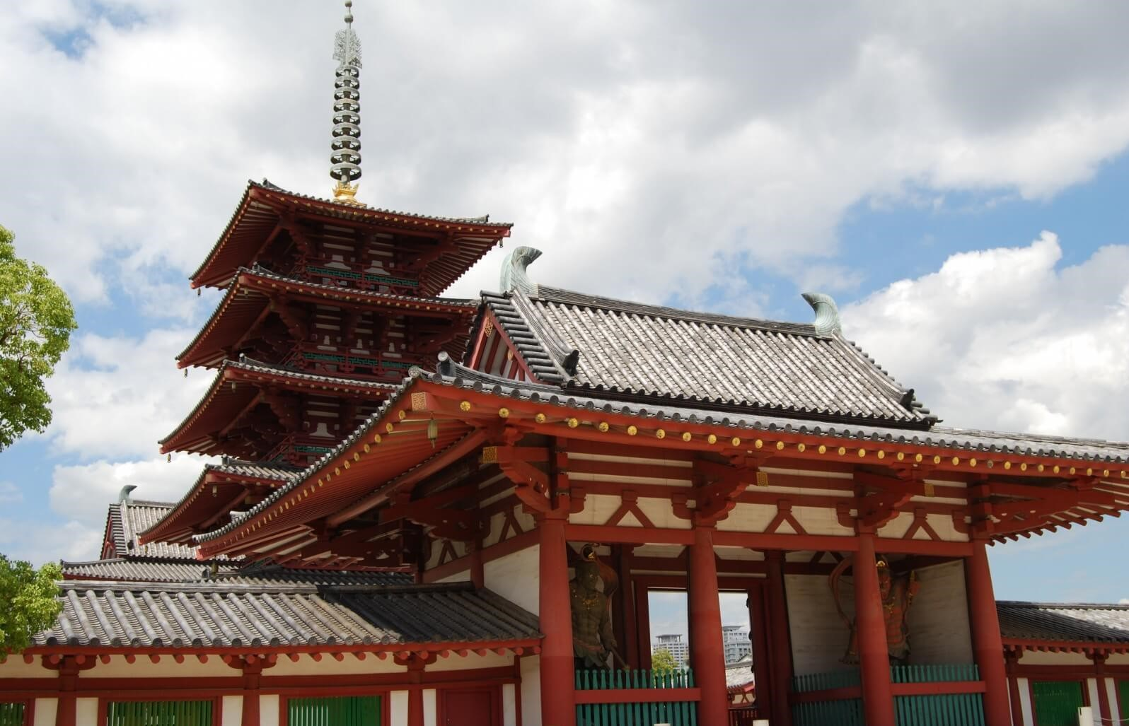 The 5-story pagoda and the middle gate of Shitennoji Temple