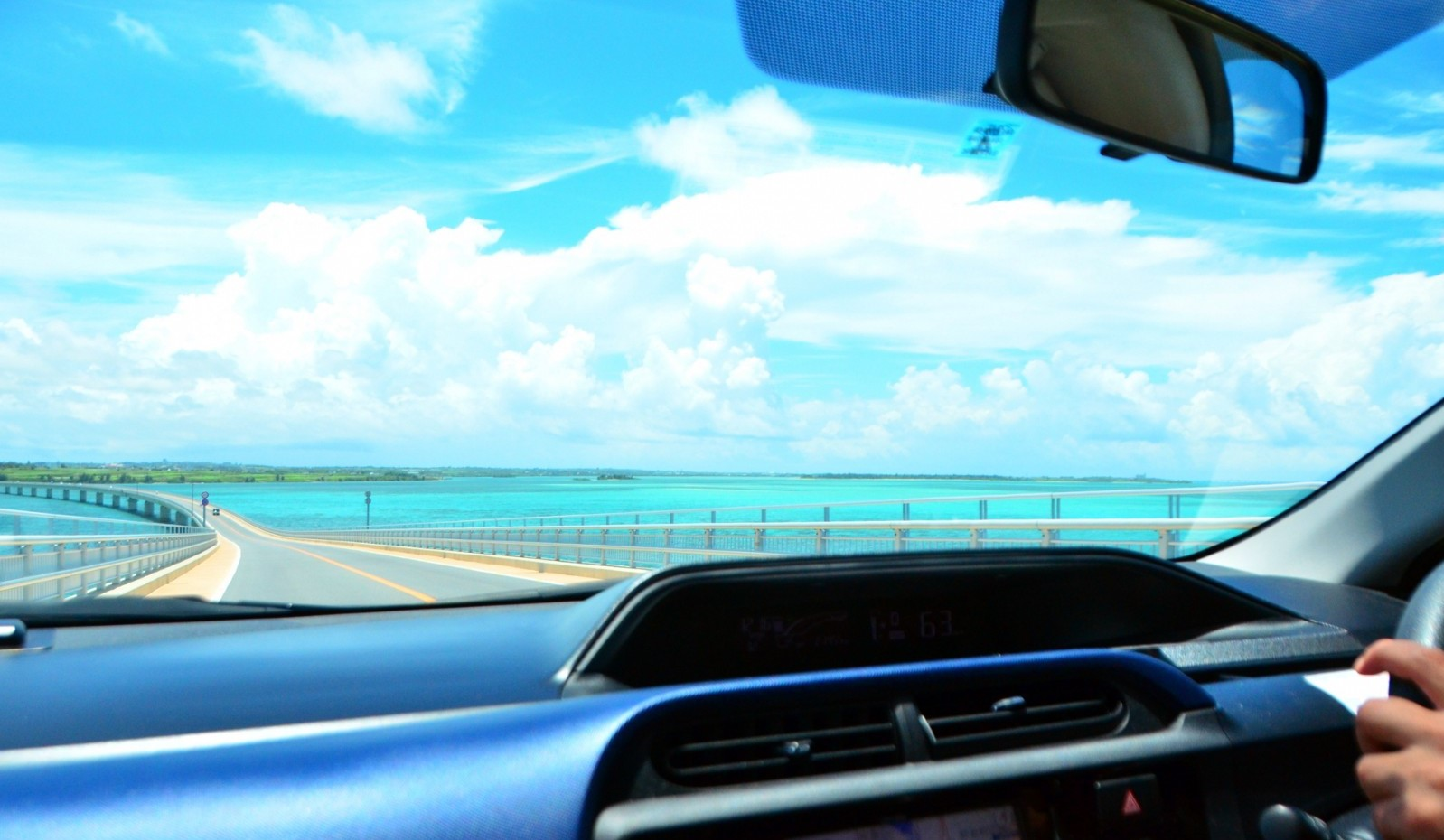 Driving on the bridge across the ocean in Okinawa