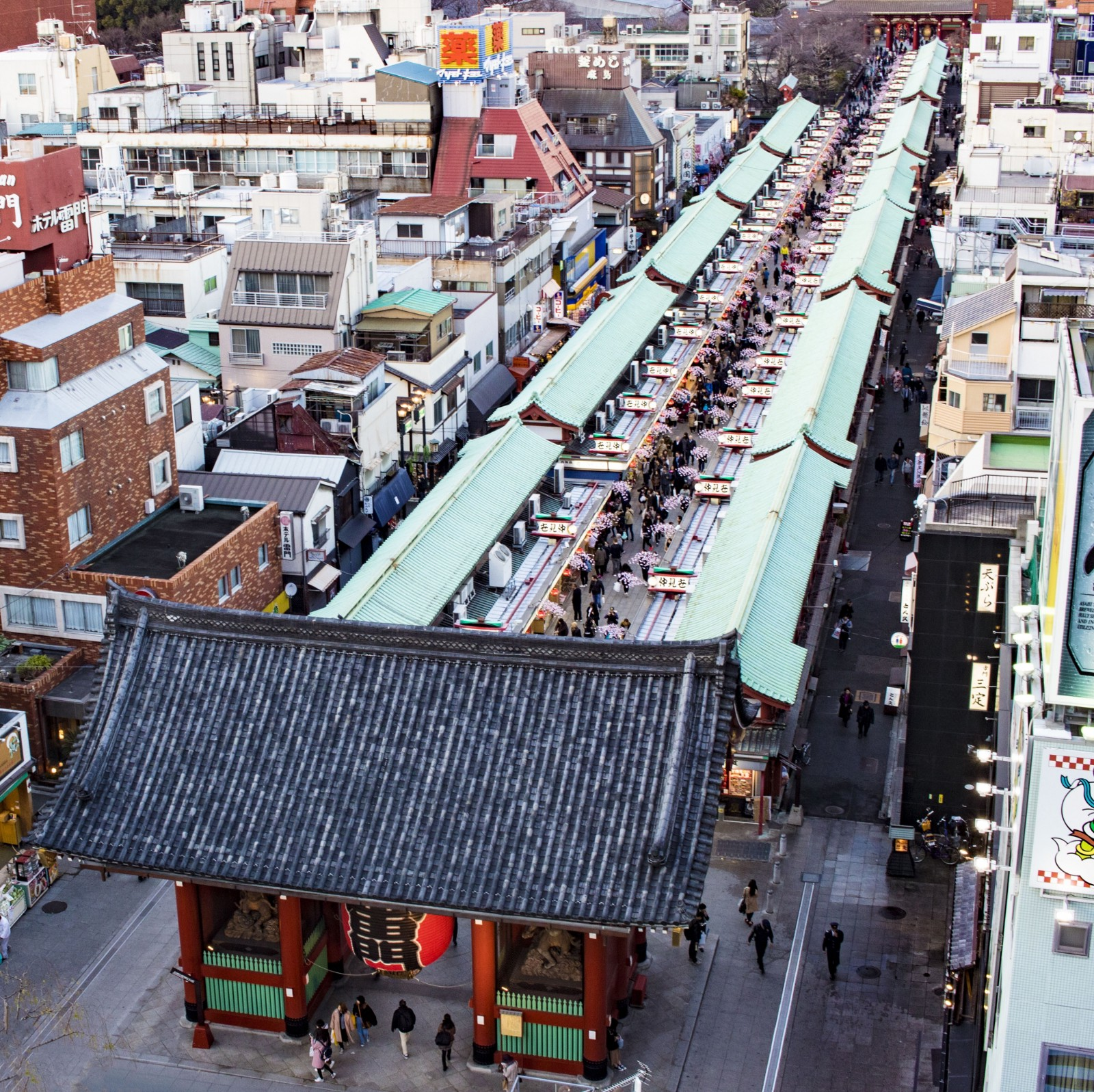 The view of Nakamise Shopping Street from above