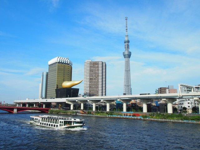 Sumida River with Tokyo's skyscrapers