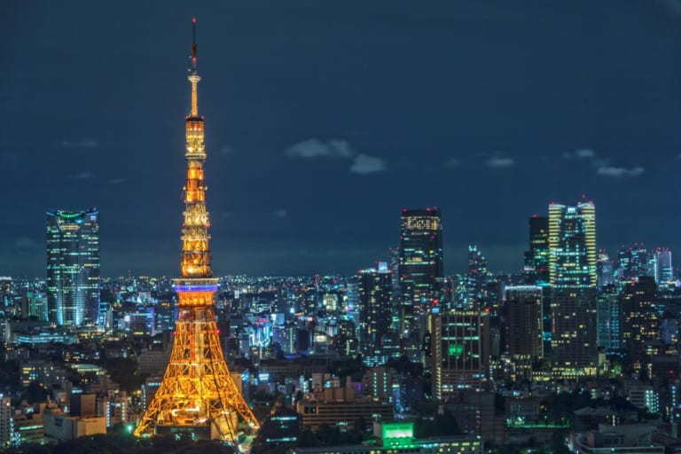 Tokyo by Night: Tokyo Tower and high-rise buildings