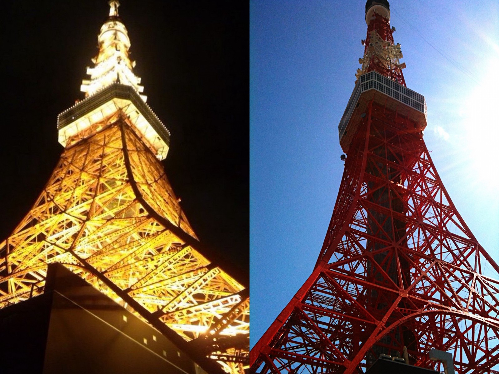 Tokyo Tower in day and night