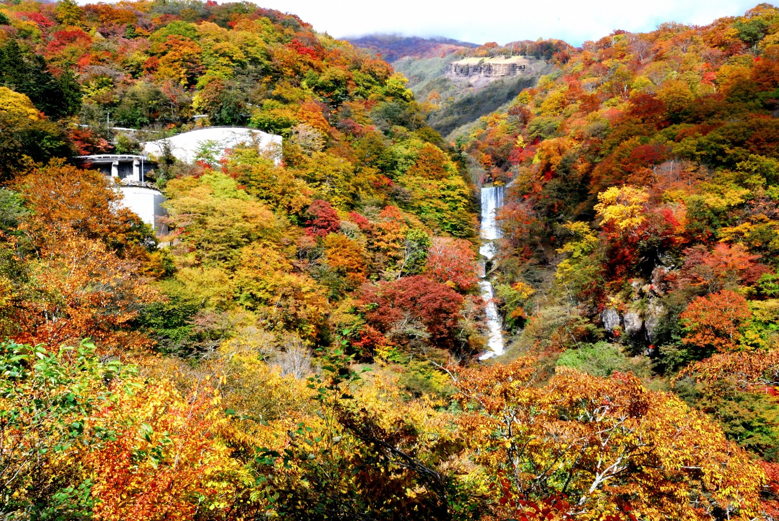 Kegon Fall with colourful autumn leaves in Nikko, Tochigi