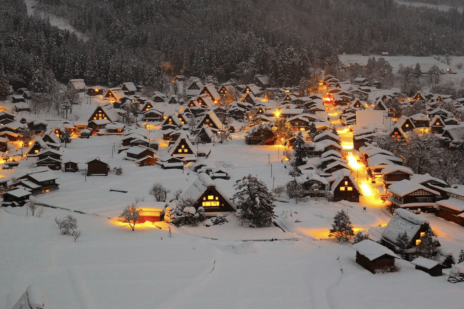 Shirakawago Village covered in snow in winter
