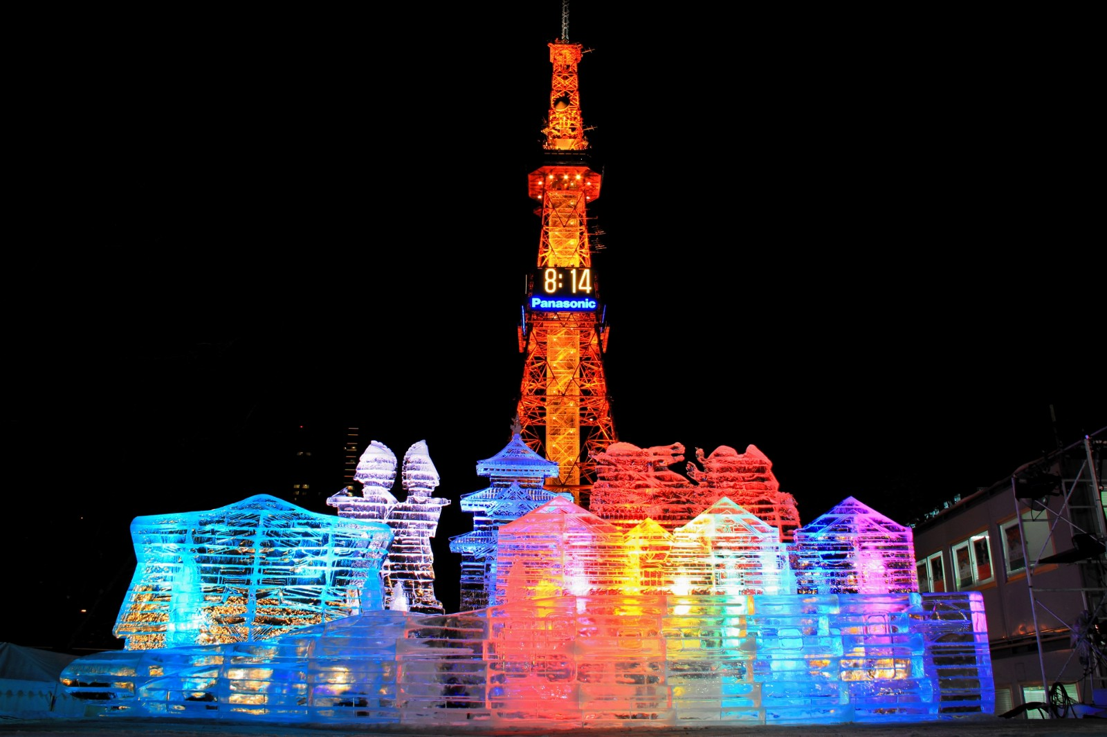 Ice sculptures in front of Sapporo Tower