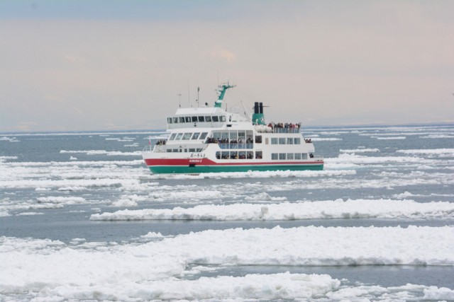 Sightseeing cruise on the sea with drift ice
