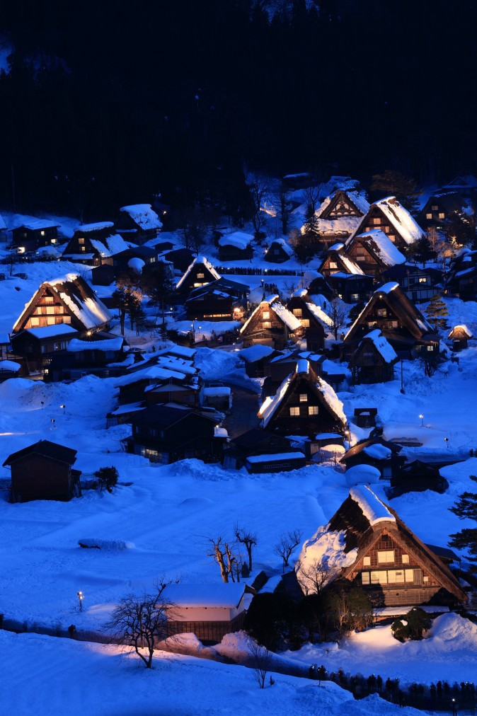 Illuminated Shirakawago Village in snow