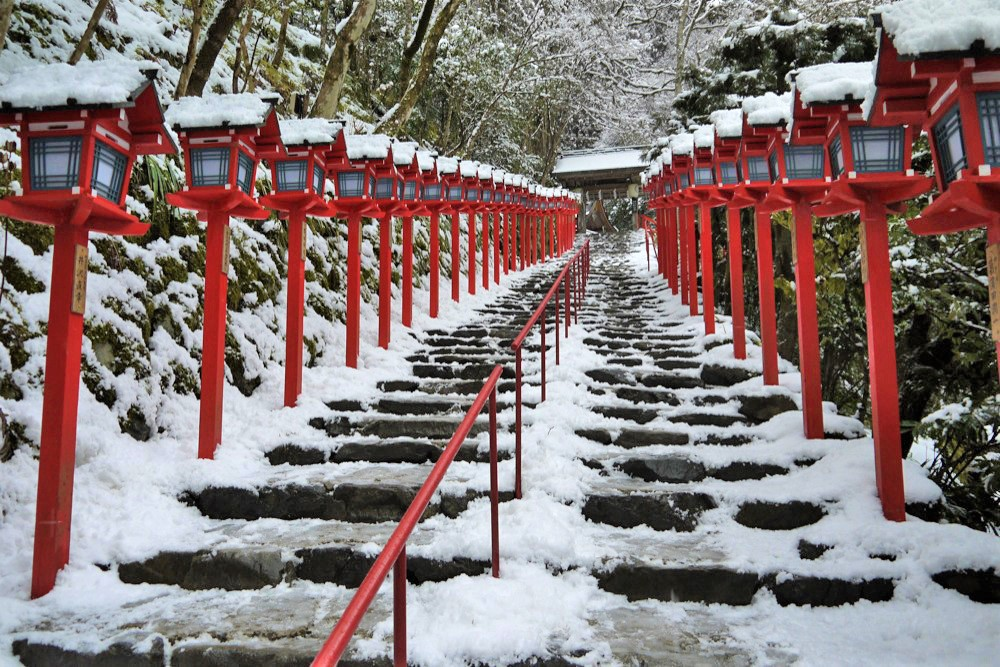 The approach of Kifune Shrine covered by snow