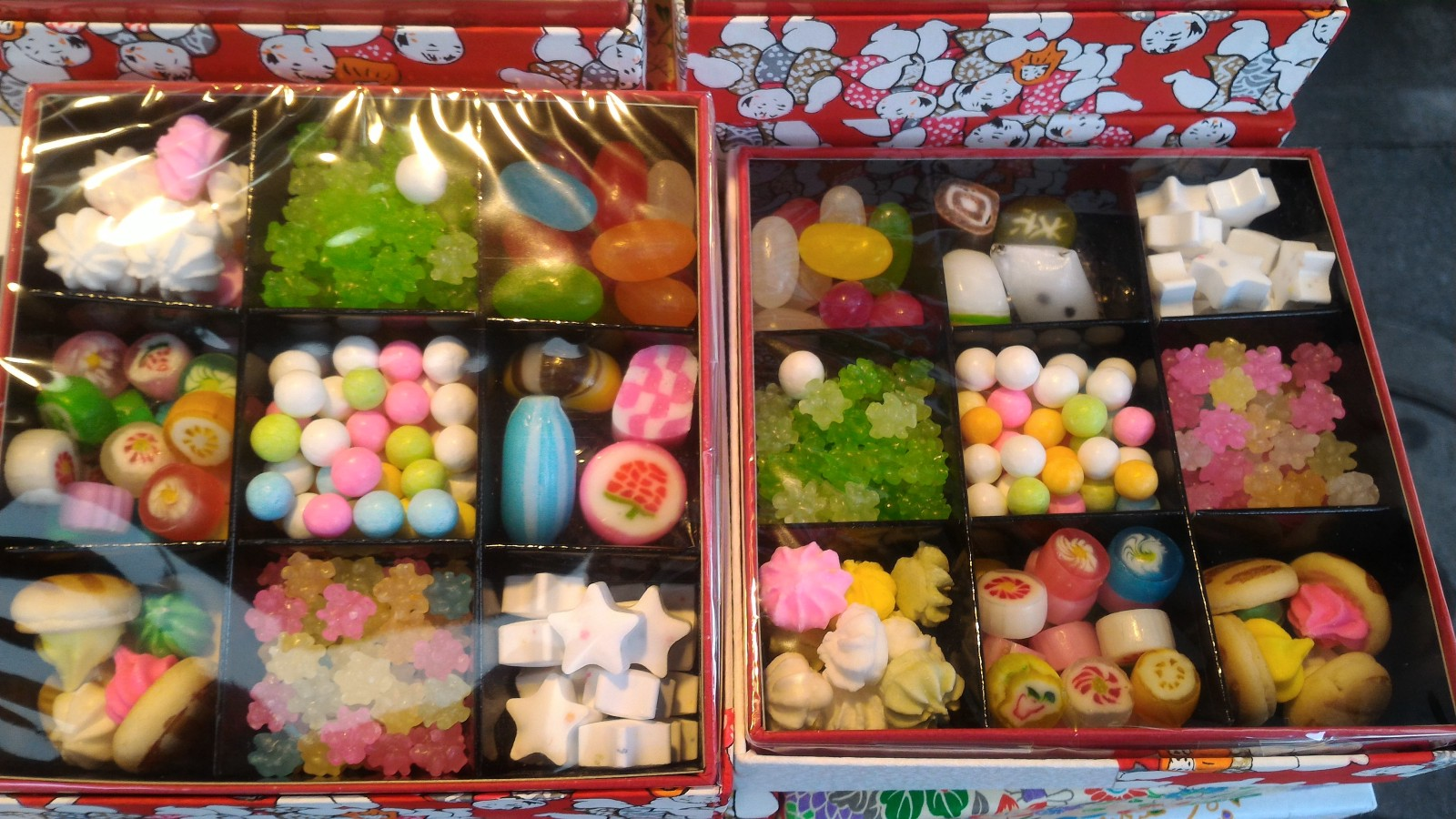 Beautifully shaped Japanese candies sold in boxes