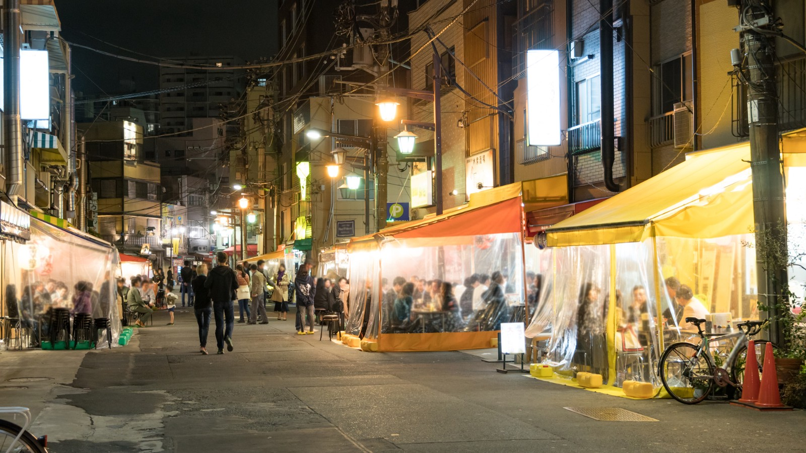 Hoppy Street in Asakusa filled by small Izakaya pubs at night