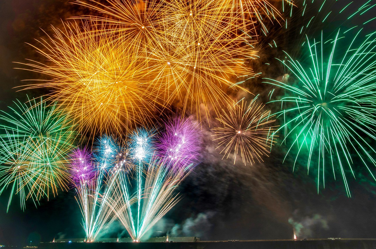 Colourful fireworks sparkling in the summer sky