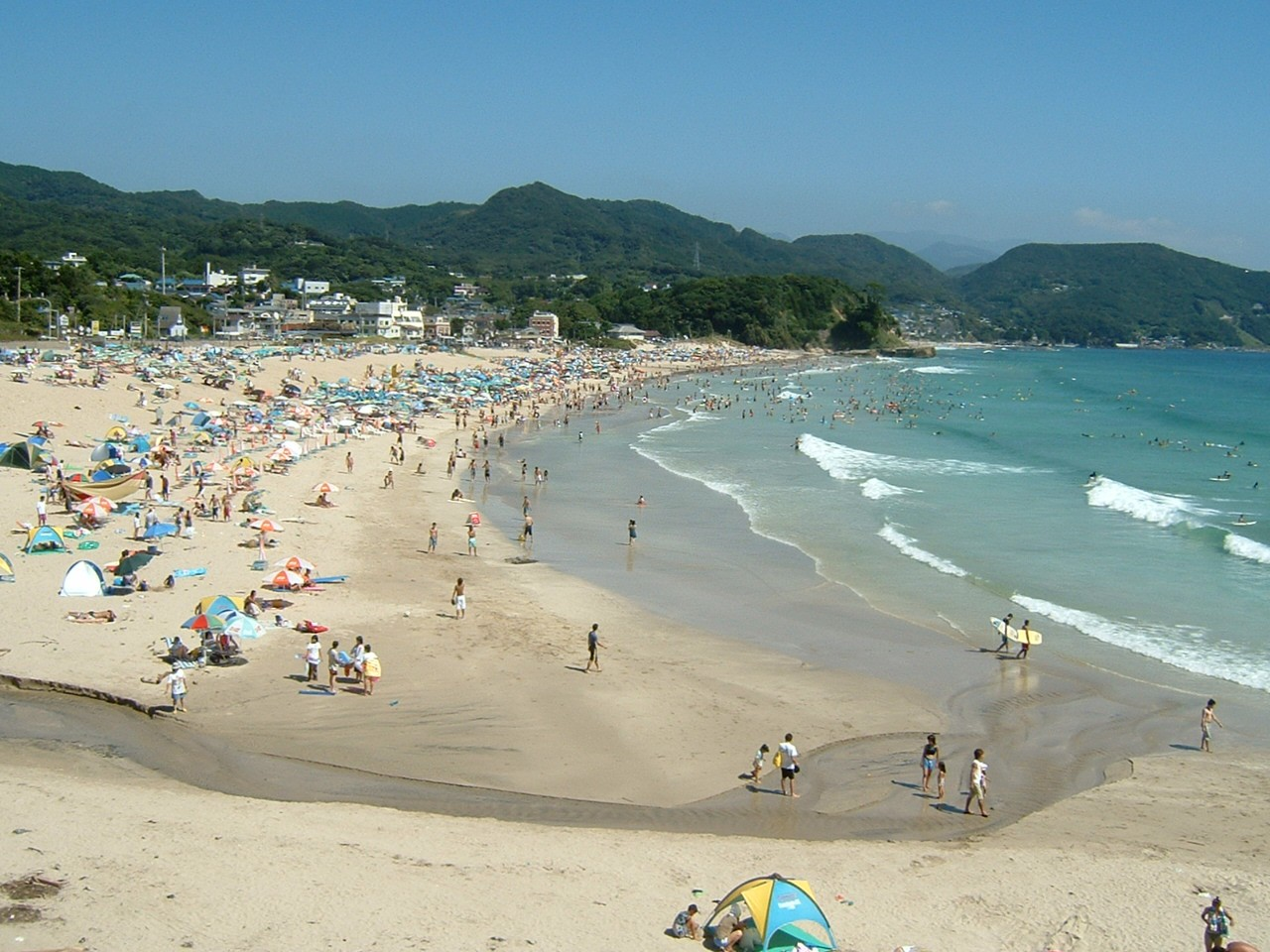 Crowded Shirahama Beach during Summer