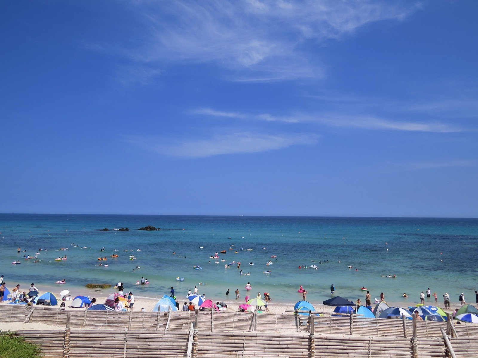 Beach at Tsunoshima Island in summer