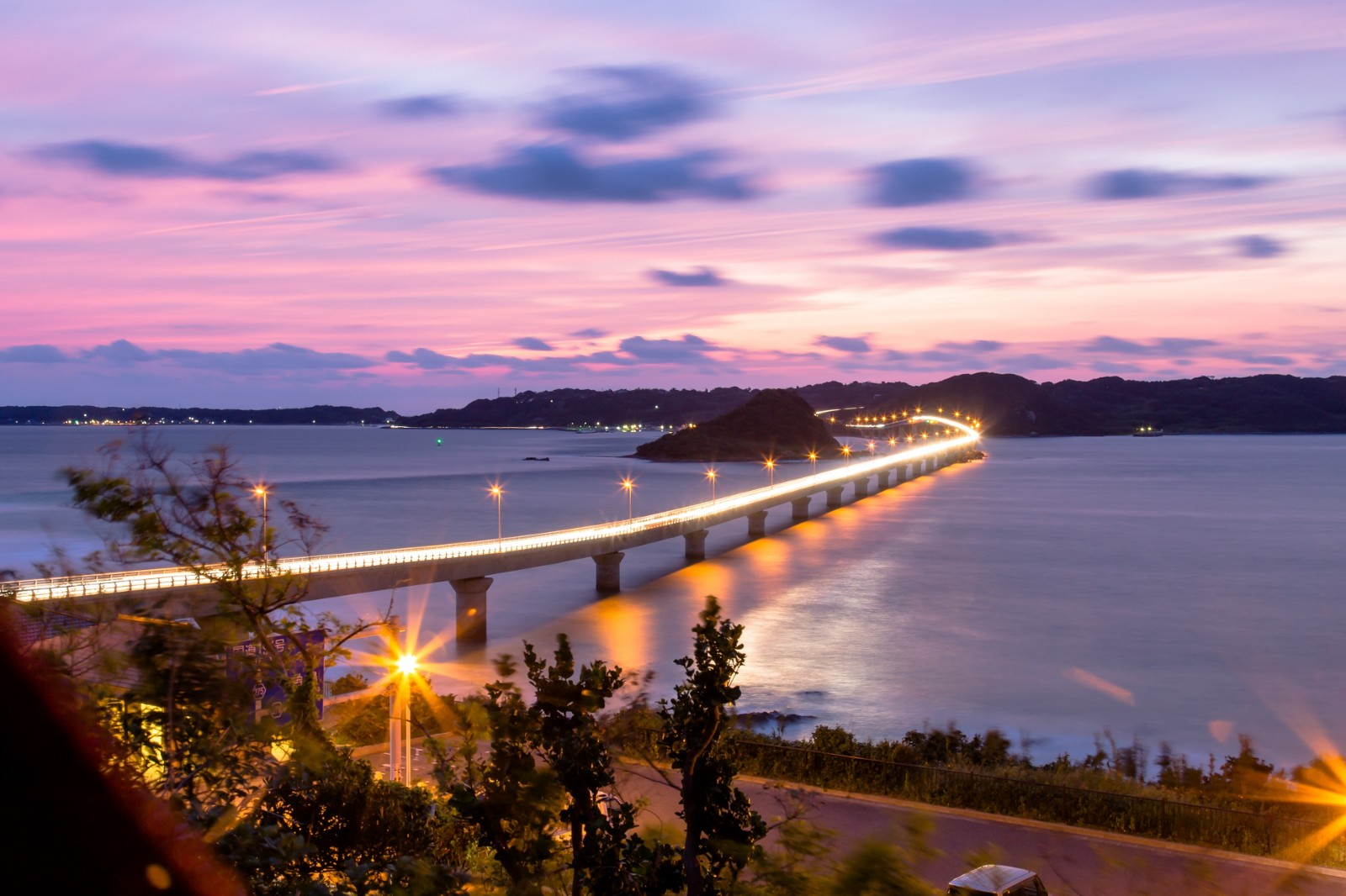 The twilight view at Tsunoshima Island and Tsunoshima Bridge