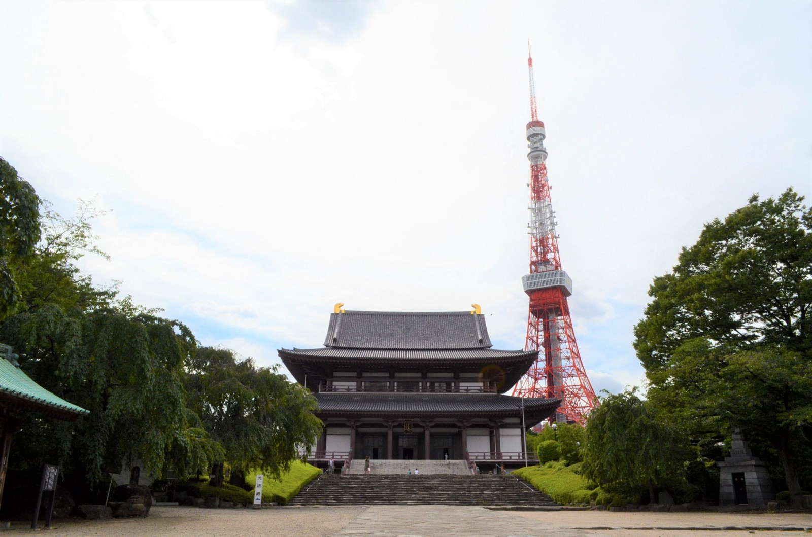 The front view of Zojoji Temple and Tokyo Tower