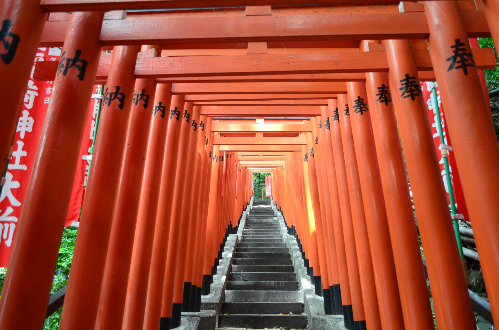 The stairs at Hie Shrine lined by red Torii gates