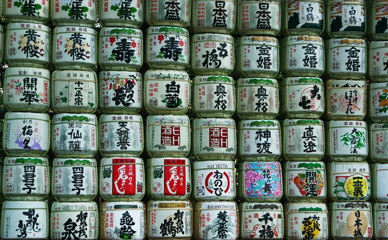The photo-worthy Sake barrels at Meiji Shrine