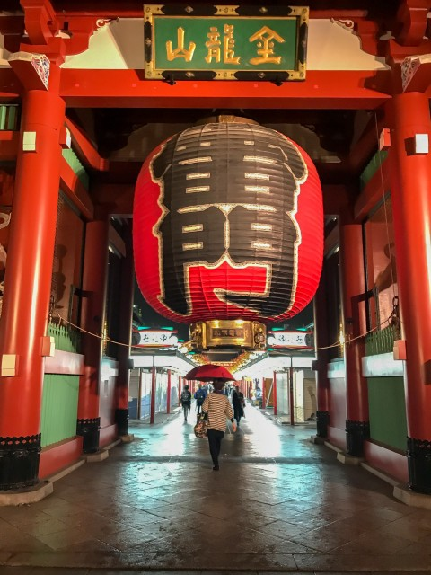 The massive lantern at Kaminarimon Gate, Asakusa