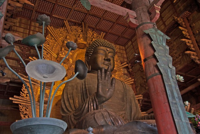 Majestic bronze statue of Great Buddha at Todaiji Temple in Nara