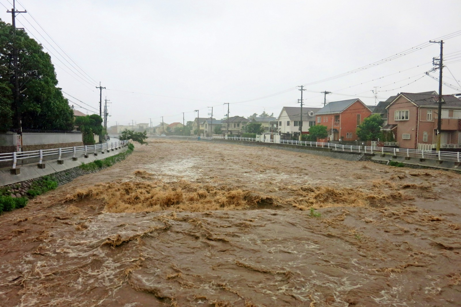 River flooding caused by a typhoon