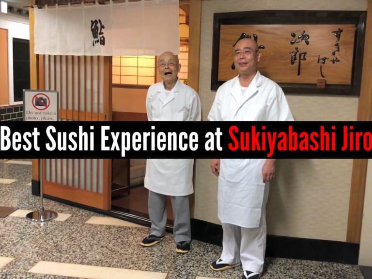 Jiro Ono and his son Yoshikazu Ono in front of Sukiyabashi Jiro