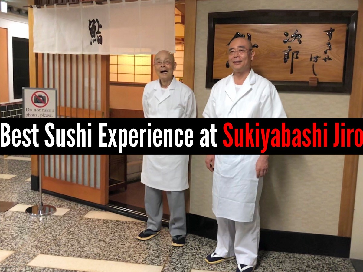 Jiro Ono and his son Yoshikazu Ono in front of Sukiyabashi Jiro
