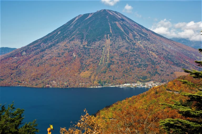 Mt Nantai and Lake Chuzenji in Nikko in autumn