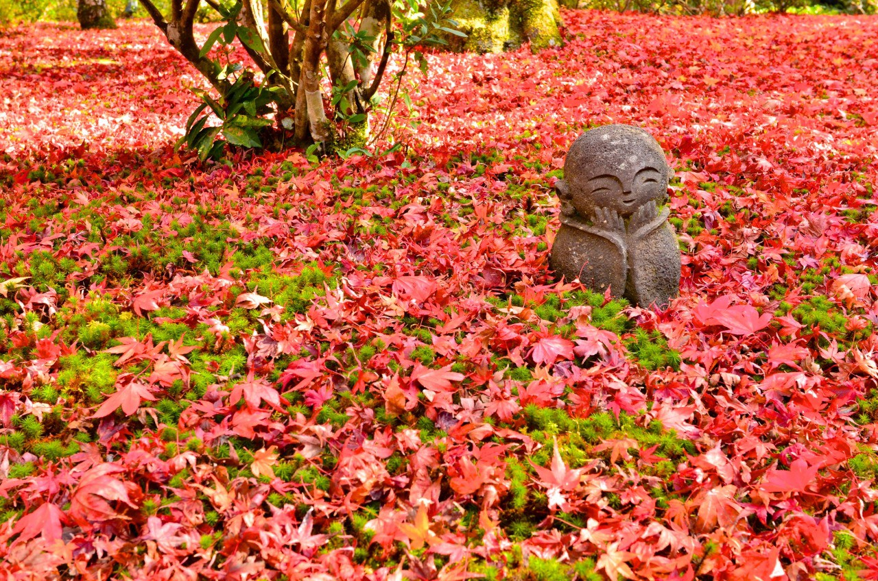 Fallen autumn leaves with a Jizo statue
