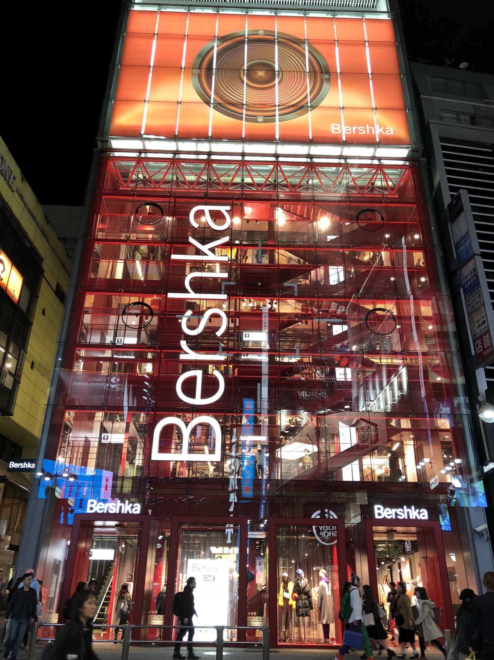 The cool transparent building of Bershka Shibuya store
