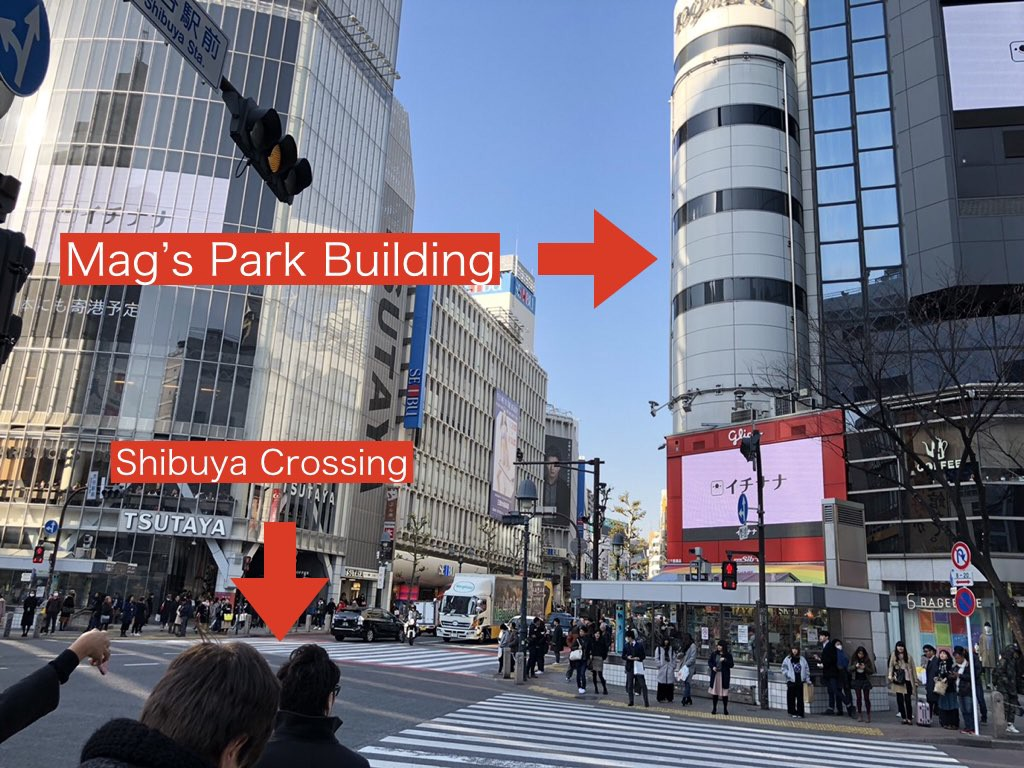 The location of Mag's Park from Shibuya Crossing