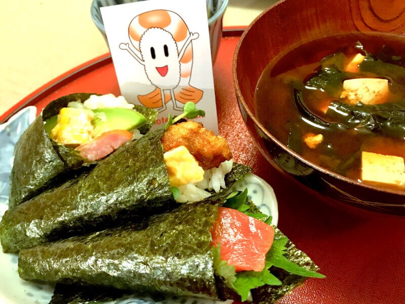 home cooking style Temaki Sushi (hand wrap sushi) with miso soup