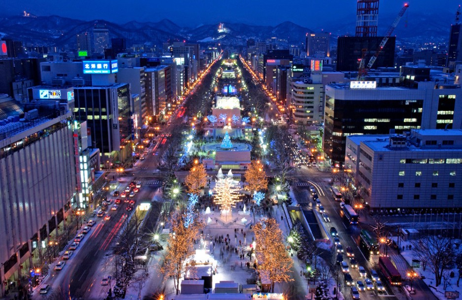 Odori Park, the main venue of Sapporo Snow Festival